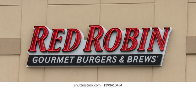 Collegeville, PA - May 9, 2019: This Red Robin casual dining restaurant serving gourmet burgers and brews is at the Providence Town Center.