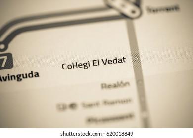 Collegi El Vedat Station. Valencia Metro map.