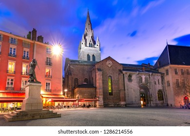 The Collegiate Church of Saint Andrew front, Saint Andrew square at night, Grenoble, France