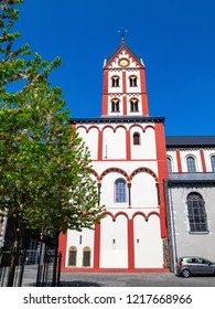 Collegiate Church of St. Bartholomew in Liege, Belgium, partial exterior view against a clear blue sky