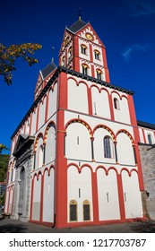Collegiate Church of St. Bartholomew in Liege, Belgium, beautiful exterior side view against a clear blue October sky