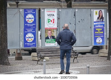 Collegno, Italy - February 22, 2018: posters for Italian national parliamentary elections, it is planned to be held in Italy on Sunday 4 March 2018.