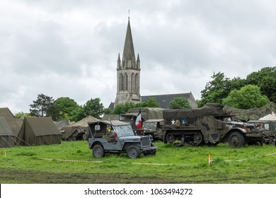 Colleville sur mer, France, Jun 4th 2014: re-enactment of military camp on the occasion of the anniversary of the Normandy landings.