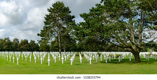Colleville-sur-Mer, Calvados, Normandy / France - 16 August 2019:  panorama view of the American Cemetery at Omaha Beach in Normandy