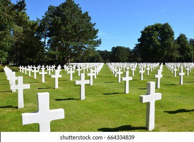 COLLEVILLE-SUR-MER, FRANCE - AUG 12:  Tombstones at the Normandy American Cemetery and Memorial in Colleville-Sur-Mer, France, are shown on August 12, 2016.