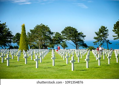 COLLEVILLE-SUR-MER, FRANCE - AUGUST 20, 2017: The American World War II Cemetery in Colleville-sur-Mer, Normandy. It is located near the D-day Omaha Beach. France.