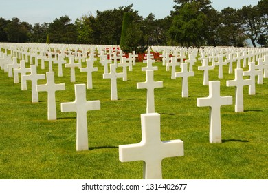 COLLEVILLE-SUR-MER, FRANCE - July 2, 2015: American war cemetery at Omaha Beach.