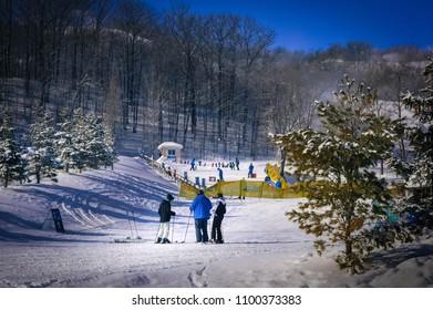 Collingwood, Canada - Feb 18 2016: Skiing at Blue Mountain