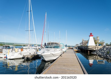 Collingwood Harbor with lighthouse and boats
