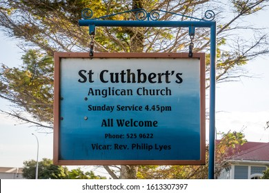 Collingwood, New Zealand - 22 December 2019: Information Sign of St Cuthbert's Anglican Church, designed by Thomas Brunner and built in 1873. It is the oldest surviving building in Collingwood.