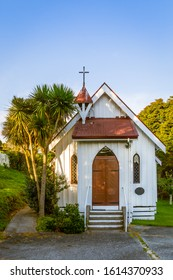Collingwood, New Zealand - 22 December 2019: St Cuthbert's Anglican Church, designed by Thomas Brunner and built in 1873. It is the oldest surviving building in Collingwood.