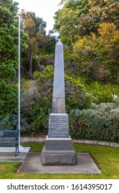 Collingwood, New Zealand - 22 December 2019: The Obelisk, commemorating the South African (Boer) War. It is part of the Collingwood Memorial.
