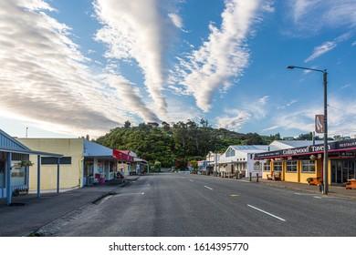 Collingwood, New Zealand - 22 December 2019: View of the Tasman Street in Collingwood