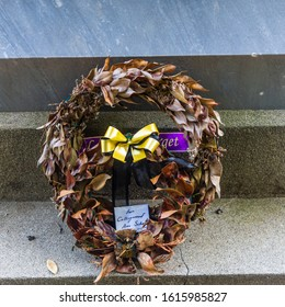 Collingwood, New Zealand - 22 December 2019: Wreath, donated from the Collingwood Area School, laid down at The Collingwood Memorial