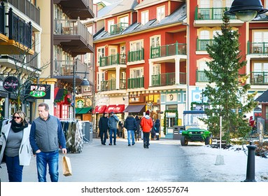 COLLINGWOOD, ON, CANADA - DECEMBER 17, 2018: Blue Mountain Village in snowy winter day, Ontario, Canada - Image