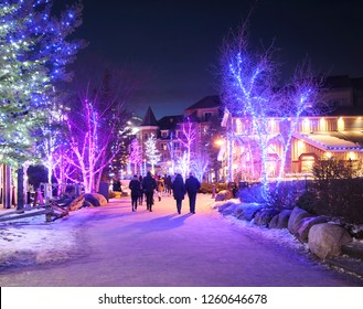 COLLINGWOOD, ON, CANADA - DECEMBER 27, 2017: Christmas decorated Blue Mountain Village in winter night, Ontario, Canada