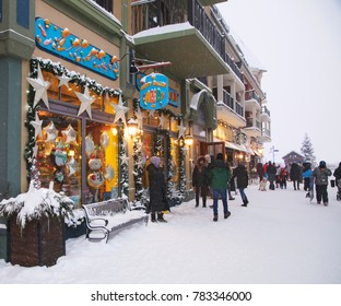 COLLINGWOOD, ON, CANADA - DECEMBER 27, 2017: Blue Mountain Village in snowy winter day, Ontario, Canada