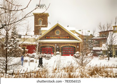 COLLINGWOOD, ON, CANADA - DECEMBER 27, 2017: Firehall Pizza Co in Blue Mountain Village at winter time, Ontario, Canada
