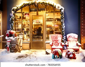COLLINGWOOD, ON, CANADA - DECEMBER 27, 2017: Shop on pedestrian street at Blue Mountain Village in winter time, 2017