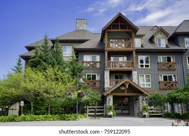 COLLINGWOOD, ON, CANADA - JULY 20, 2017: View of lodging and shops at Blue Mountain Village, Ontario's only four season mountain resort.