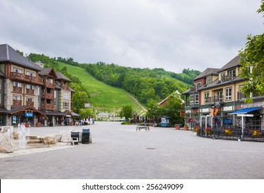 COLLINGWOOD, ON, CANADA - JUNE 18: Summer ski hill, shops and restaurants at Blue Mountain Village, 2014