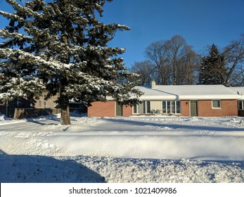 COLLINGWOOD, ON, CANADA - Shops and restaurants at Blue Mountain Village in winter