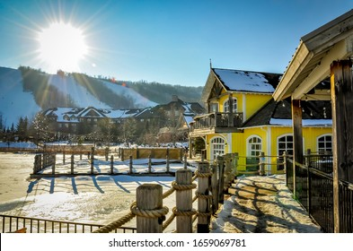 Collingwood, Ontario, Canada - February 23, 2020:  Winter landscape in Blue Mountain Village in Collingwood.