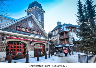 Collingwood, Ontario, Canada - February 23, 2020:  The Firehall Pizza Co. restaurant in Blue Mountain Village in Collingwood.