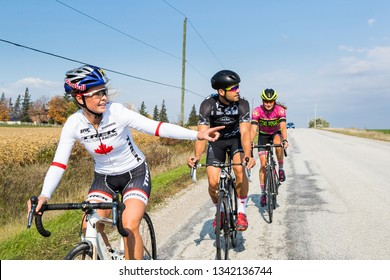 Collingwood, Ontario, Canada - October 18, 2016: Red Bull Ahlete and Olympic Mountain Biker Emily Batty training with friends on her road bike on the hills around Collingwood. - Stock Image