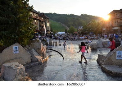 Collingwood, Ontario, Canada on August 03, 2017.  The Blue Mountain Village is one of the popular family destination with activities for all ages in every season.