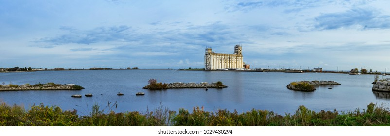 Collingwood, Ontario/Canada-October 27 2017: Panoramic view of the Grain terminals in the harbour in Collingwood, Ontario, Canada.