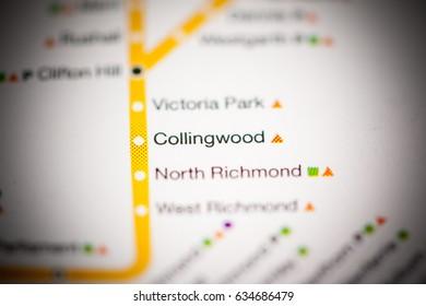 Collingwood Station. Melbourne Metro map.