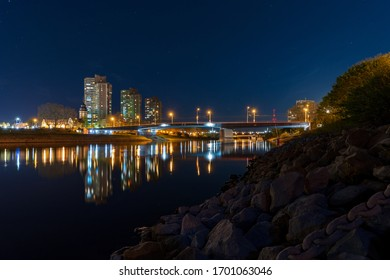 Collini Centre and Neckar at night in Mannheim 10.04.2020