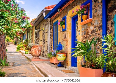 COLLIOURE, FRANCE - 02 June 2017: Colorful streets of Collioure