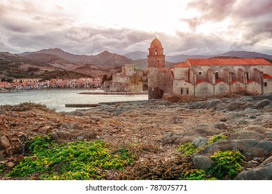 Collioure. France. French part of the coast Vermillion in the Mediterranean Sea. Beautiful color city in the backlight.