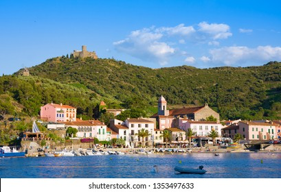 COLLIOURE, FRANCE - JULY 5, 2016: Beach hotels and restaurantes in Collioure village. Roussillon, Vermilion coast, Pyrenees Orientales, France