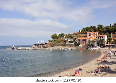 COLLIOURE, FRANCE - SEPTEMBER 5, 2018: Panorama of Collioure and its beach in summer that offer tourists the opportunity to enjoy the sun