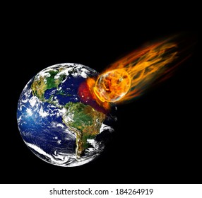 Collision planet Earth with enormous fiery meteorite.