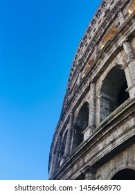 Colloseum wall with blue sky view