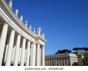 Collumns  (colonnade) at Piazza San Pietro, Vatican City, Rome, the smallest country in the world.