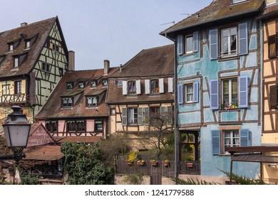 Colmar, Alsace, France - 04.02.2018: View of Little Venice neighborhood in Colmar