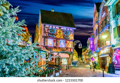 Colmar, Alsace, France. Christmas Market, Marche de Noel with gingerbread houses and local craftsmen, famous in Europe.