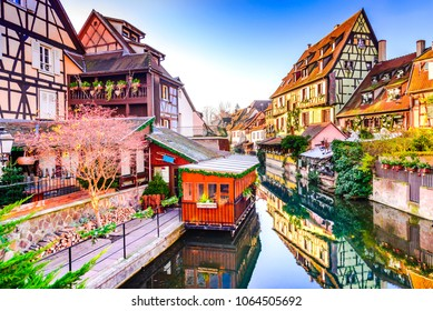 Colmar, Alsace, France. Gingerbread houses at Petite Venise. Christmas decoration of local craftsmen, famous in Europe.