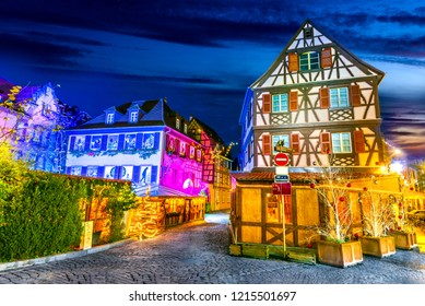 Colmar, Alsace, France. Gingerbread houses and Christmas decoration, Marche de Noel.