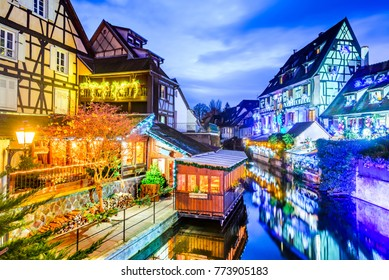 Colmar, Alsace, France. Gingerbread houses add Christmas decoration of local craftsmen, famous in Europe.