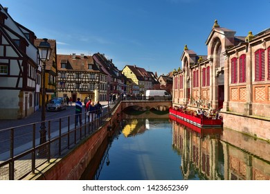 COLMAR, FRANCE - APRIL 18, 2019. The little Venice of Colmar - is a picturesque old tourist area in the historic center of the town of Colmar. Haut-Rhin, Alsace, France.