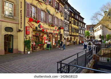COLMAR, FRANCE - APRIL 18, 2019. Busy street in the historical town centre. Rue des tanneurs street, town of Colmar, Haut-Rhin, Alsace, France, Europe
