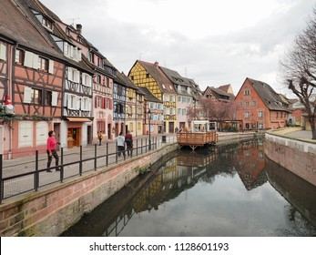 COLMAR, FRANCE - APRIL 9, 2018: A remarkable scenic view in old town of Colmar, France on April 9, 2018