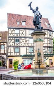 Colmar, France - August 24, 2018: Bronze statue of Lazarus von Schwendi on top of a fountain in the historical Little Venice district of Colmar, France.
