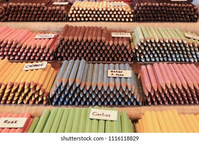 COLMAR, FRANCE - CIRCA MARCH 2018: Candies that look like crayons, sold at the market in Colmar, France.